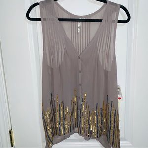 Petticoat Alley Sequined sheer Tank